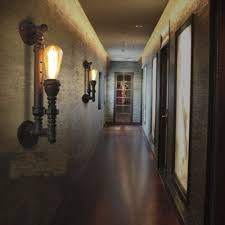 torch single lighted warehouse pipe led wall sconce takeluckhome