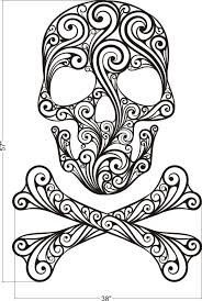 Sugar Skull Wall Decal Crossbones Halloween Decor
