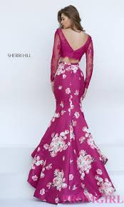 floral and lace two piece long prom gown promgirl