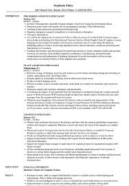 Download Logistics Specialist Resume Sample As Image File