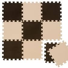 puzzlematte spielmatte braun beige 10 tlg spielteppich schaumstoff puzzle kinderteppich