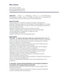 Project Manager Resume Objective Statement Sample Management Entry Level
