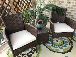 Cloud Mountain Patio Bistro Set 3 Piece Wicker Rattan Outdoor Bistro Set  Brown Patio Table And Chair Set Comfortable Modern Easy Assembly Patio Lawn  ... Americana Wicker Bistro Table And Chairs Set Plowhearth Royalcraft Cannes Brown Rattan 3pc 2 Seater Cube Breakfast Ceylon Outdoor 3piece By Christopher Knight Home Hampton Bay Aria 3piece Balcony Patio Sirio Valentine Swivel Ellie 3 Piece Folding Fniture W Round In Dark Outdoor Cast Alinium Rattan Ding Sets Georgina With Cushions Wilko Effect