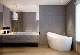home design concrete grey bathroom wall with white bathtub