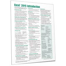 Excel 2013 Quick Reference Guide Card Cheat Sheet Beezix