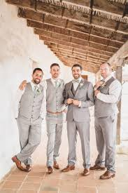 Brown Shoes Light Grey Suits Sage Green Ties Groomsmen Style Wedding Fashion