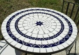 table ronde mosaique fer forge table jardin mosaique ronde 110cm céramique blanche 2 lignes 1