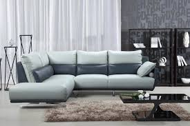 100 Designer Modern Sofa ESF 6311 Light Grey Topgrain Leather Sectional Contemporary