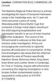 Halloween Candy Tampering Calgary by Kristy Taylor Dale5kristy Twitter