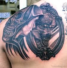 Alpha Wolf And Man Mirror Tattoo Design