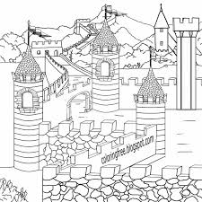 Legendary British Leader King Arthur Camelot Magical Castle Medieval Coloring Pages For Teenagers