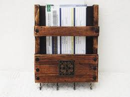 Rustic Mail Rack And Key Holder Wall Mount Organizer Wooden Caddy Letter Storage Recipe Post Box