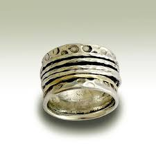Rustic Silver Gold Spinner Wedding Ring
