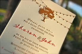 Letterpress Wedding Invitation Letterpressed Rehearsal Dinner Invitations Oak Tree And String Lights Rustic