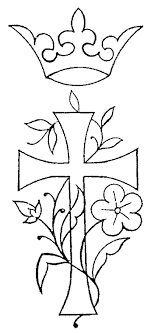 Free Embroidery Pattern Cross Crown Flowers
