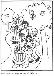 This Coloring Page For Kids Features A Group Of Children Doing What They Can To Help