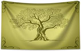 abakuhaus olivgrün wandteppich olivenbaum muster aus