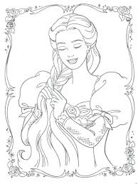 Barbie Braiding Her Hair Coloring Page Tangled Rapunzel Printable Pages