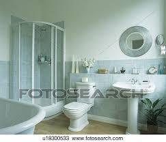 dusche kabinett in ecke badezimmer mit pastell