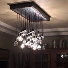 crafted wood and metal hanging bulb chandelier light fixture