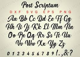 post scriptum font svg png dxf eps laser cut от vectorartcraft