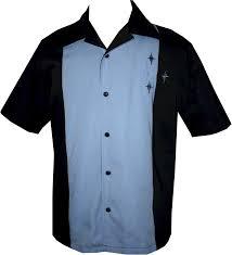 mens black blue star retro bowling shirt
