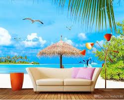 großhandel benutzerdefinierte größe 3d fototapete wohnzimmer wandbild strand möwe landschaft 3d bild hintergrund wandbild wohnkultur kreative hotel