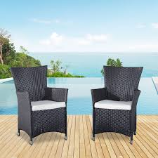 outsunny 2pcs rattan chair set garden wicker seat outdoor patio