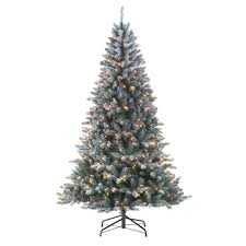 Slim Pre Lit Christmas Trees by Jaclyn Smith 7 U0027 Colorado Flocked Pine Tree Kmart