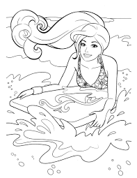 Free Printable Barbie Coloring Pages Playing Water Ski
