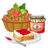 Homemade strawberry jam Strawberries strawberry jam and a sandwich