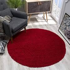sanat teppich rund rot hochflor langflor modern teppiche fürs wohnzimmer schlafzimmer esszimmer oder kinderzimmer größe 120x120 cm
