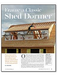 Shed Dormer Plans by Frame A Classic Shed Dormer Homebuilding