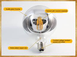 maxi globe chrome dipped linear led filament light bulb g125