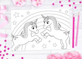 As Unicorns Are So Popular At The Moment I Decided To Draw Some Cute Rainbow Unicorn Illustrations And Make Them Into Printable Colouring Pages For You