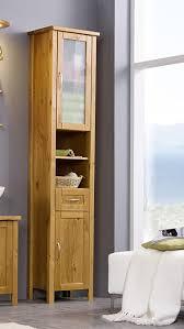 sam stilvoller hochschrank in honig badschrank aus lackiertem kiefer massives kiefernholz landhäuslicher stil edelstahl farbene griffe milchglas