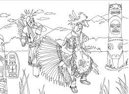 Native Americans Dancing Next To A Totem