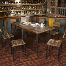 C Iron Vintage Wood Outdoor Cafe Tables And Chairs Household Fast Food Restaurant Bar Leisure