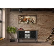 vintage industrial design wohnzimmer sideboard in eisen und holz akimi