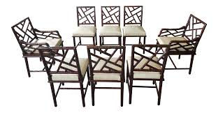 Mid Century Chinese Chippendale Exotic Wood Faux Bamboo Dining Chairs- Set  Of 8 Bamboo Chippendale Chairs Small Set Of Eight Tall Back Black Faux Chinese Chinese Chippendale Florida Regency 57 Ding Table Vintage Six A Quick Living Room And Refresh Stripes Whimsy Side By Janneys Collection Chair Toronto For Sale Four