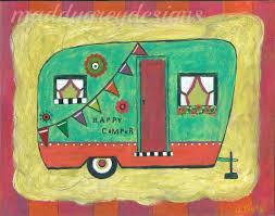 Vintage Camper Art Happy