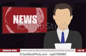 News Anchor On Tv Breaking Background Vector Illustration In Flat Design