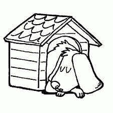 Dog House Sleeping In His Coloring Pages