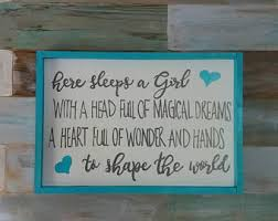 Here Sleeps A Girl Girls Bedroom Decor Teal Magical