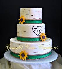 Rustic White Birch Wedding Cake With Burlap Ribbon And Sunflowers