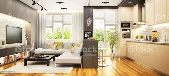 moderne küche mit bar und wohnzimmer im großen haus stockfoto und mehr bilder architektur