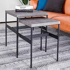 alamhi couchtisch 2er set beistelltische satztische für wohnzimmer niedrige stapelbare beistelltische im modernen design wohnzimmertische aus metall