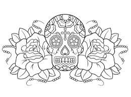 Click To See Printable Version Of Sugar Skull And Roses Coloring Page