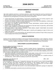 Resume For Warehouse Store Incharge Format Download Word