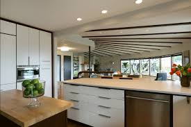 mid century modern kitchen lighting with wooden cabinets laredoreads